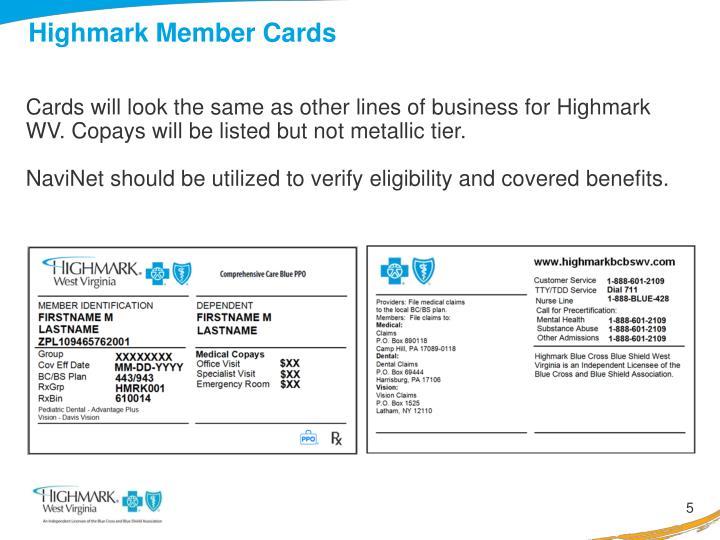 Highmark Member Cards