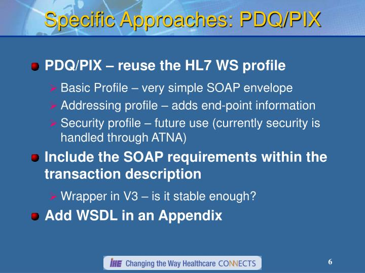 Specific Approaches: PDQ/PIX