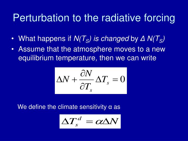 Perturbation to the radiative forcing