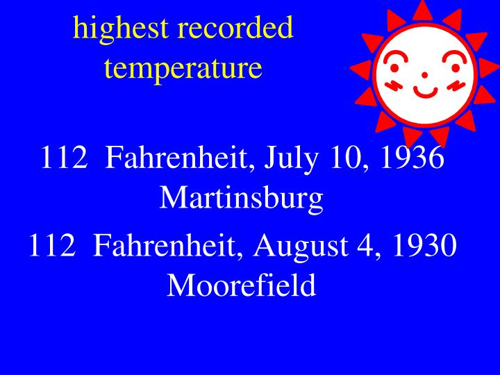 highest recorded temperature