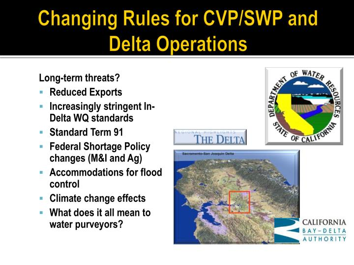 Changing Rules for CVP/SWP and Delta Operations