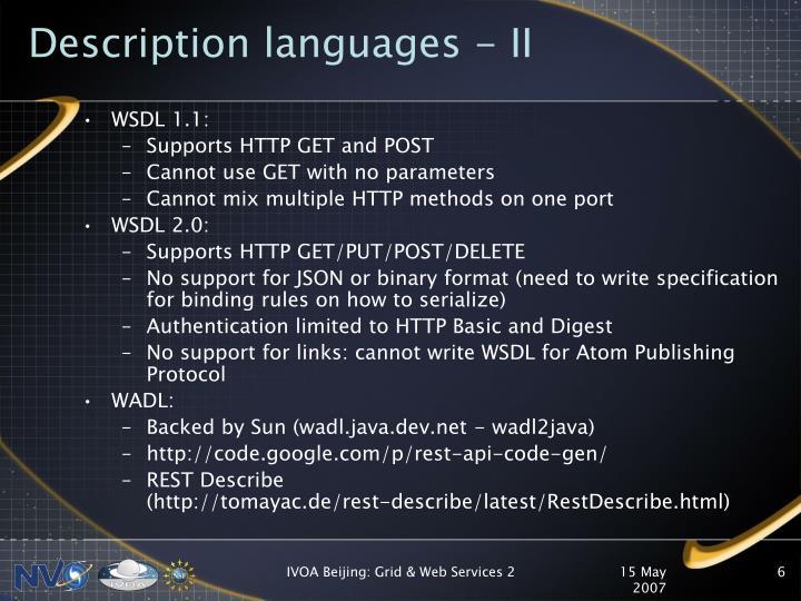 Description languages - II