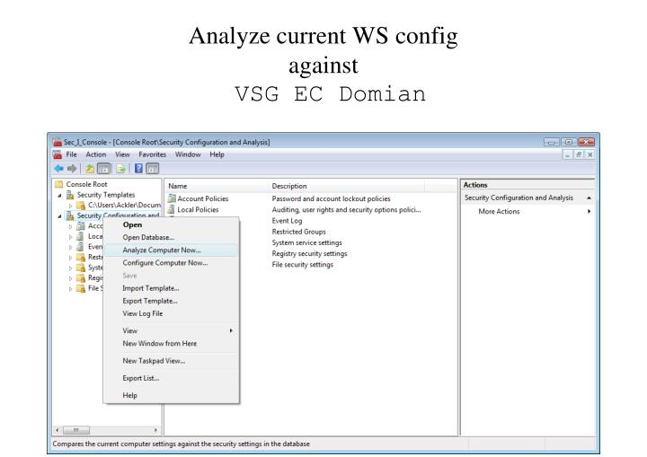 Analyze current WS config