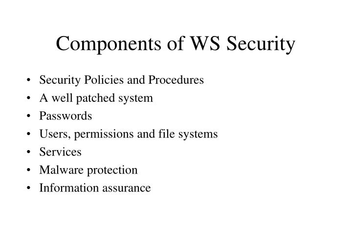 Components of WS Security