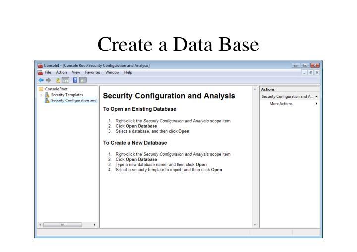Create a Data Base