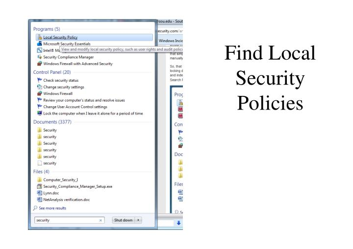 Find Local Security Policies