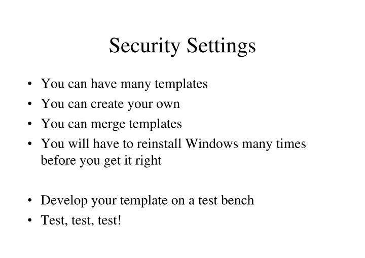 Security Settings
