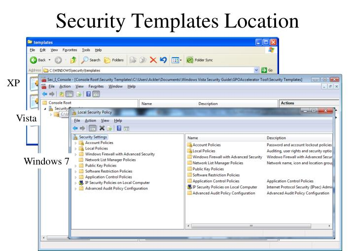 Security Templates Location