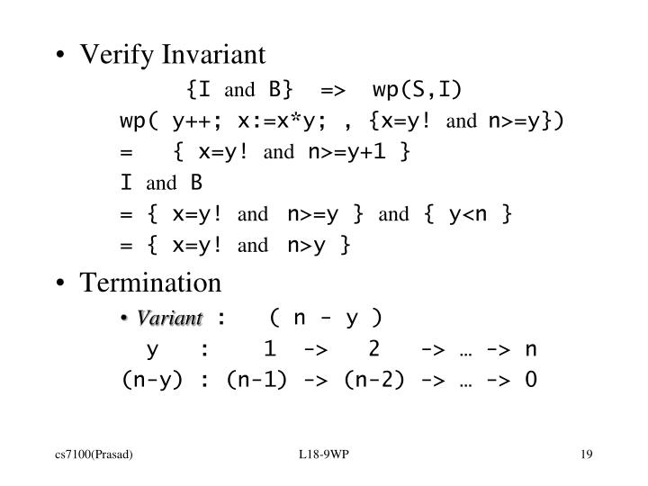 Verify Invariant
