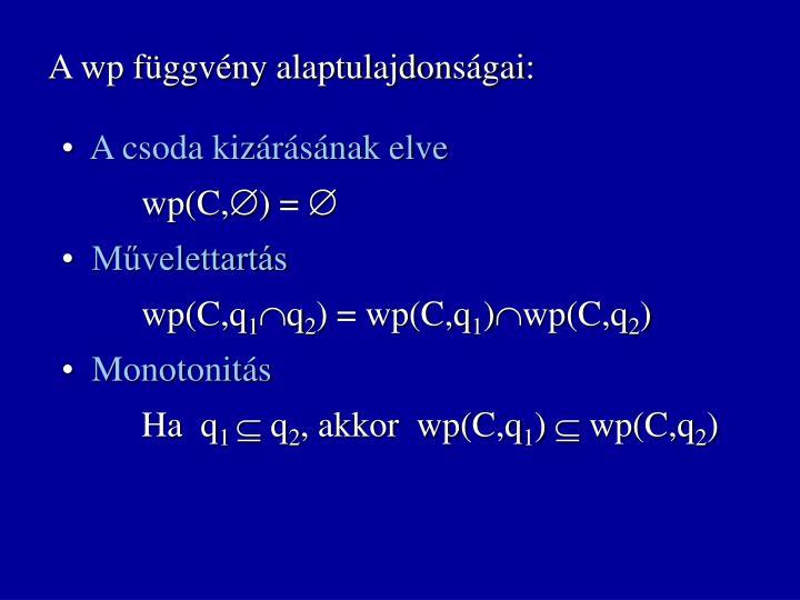 A wp függvény alaptulajdonságai: