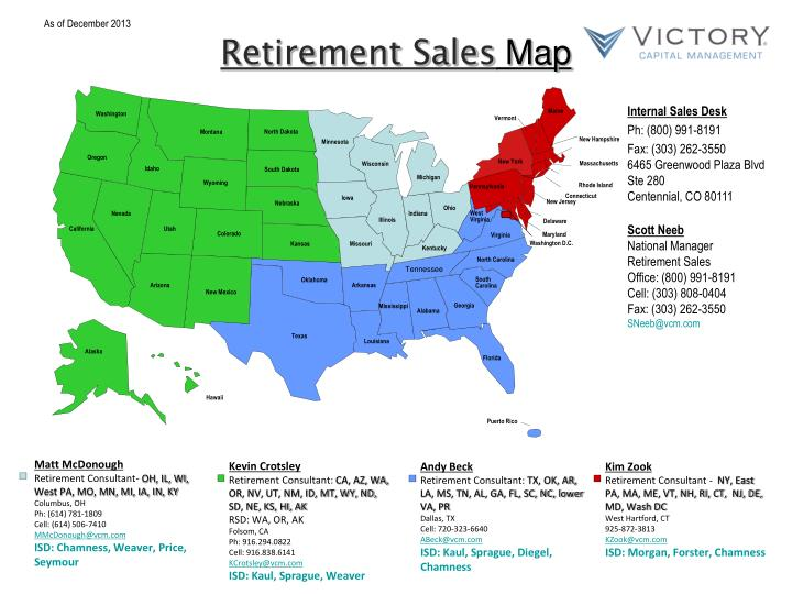 Retirement sales map