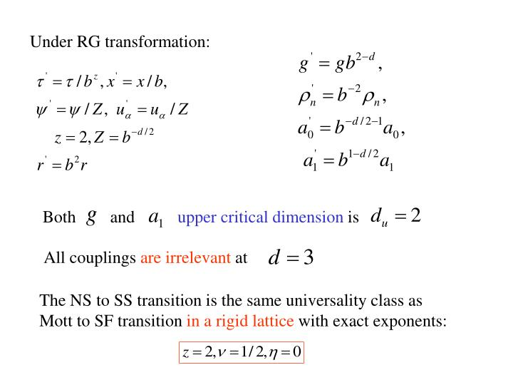 Under RG transformation: