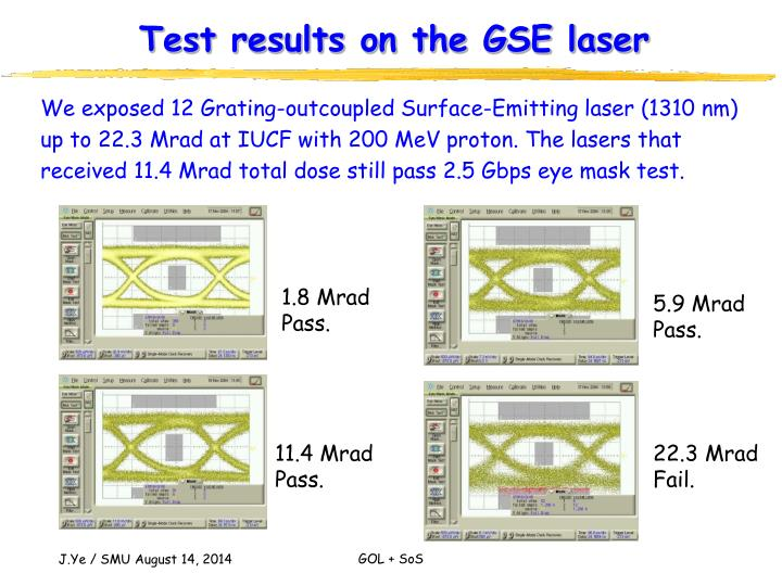 Test results on the GSE laser