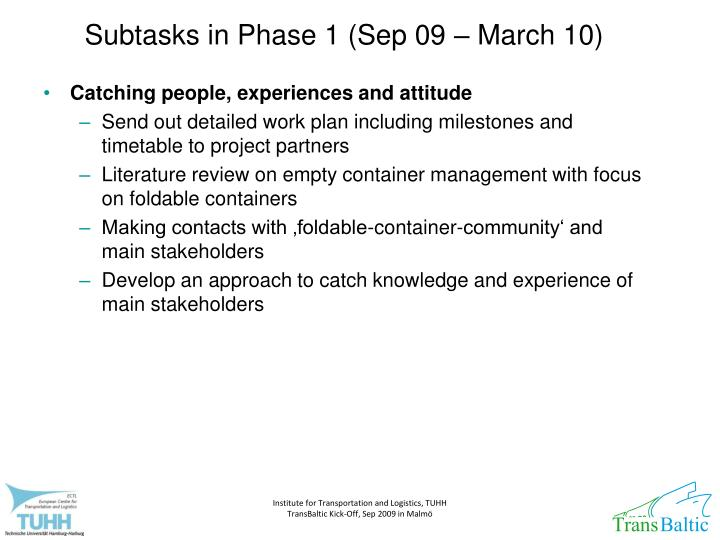 Subtasks in Phase 1 (