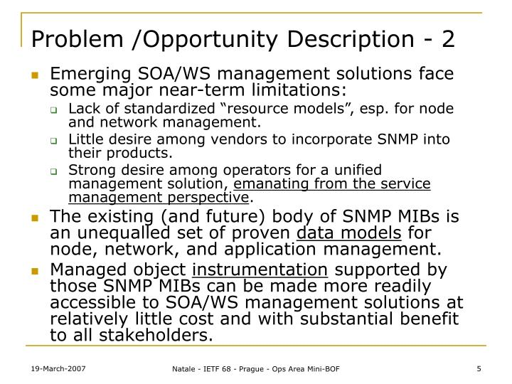 Problem /Opportunity Description - 2