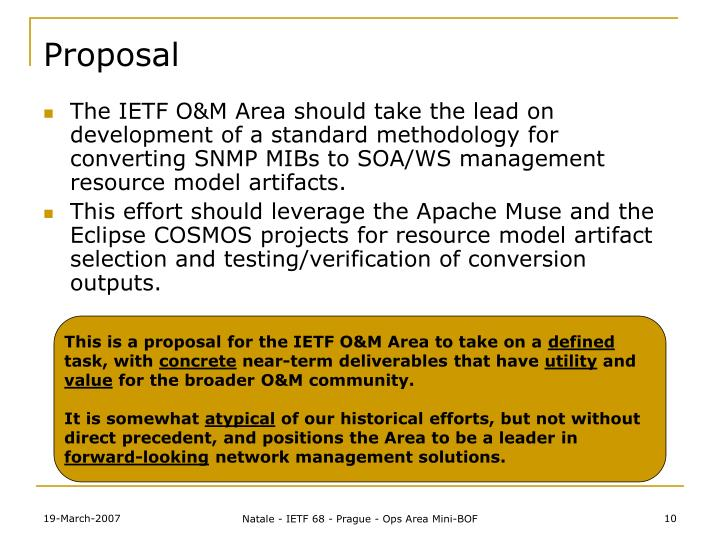 This is a proposal for the IETF O&M Area to take on a