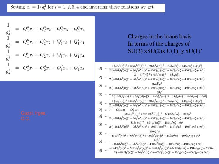 Charges in the brane basis