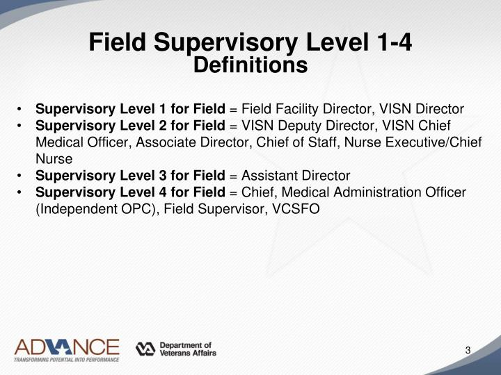 Field supervisory level 1 4 definitions