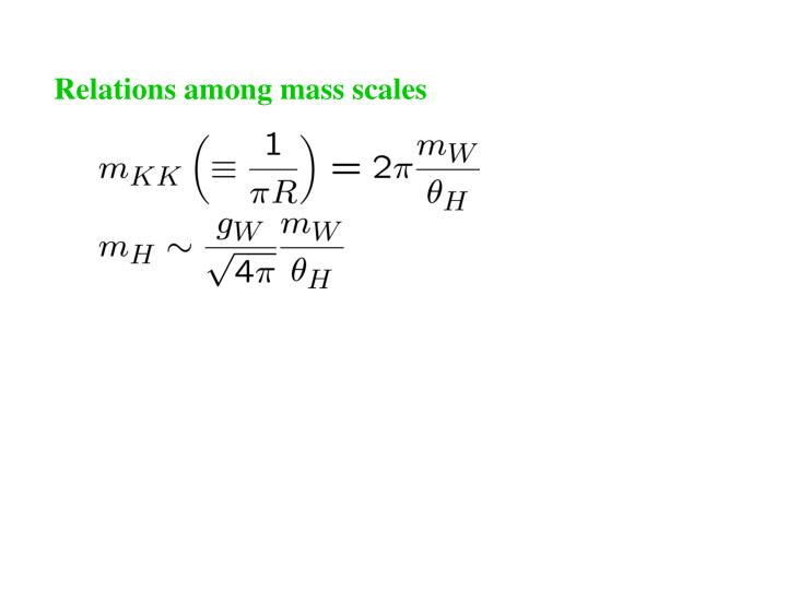 Relations among mass scales