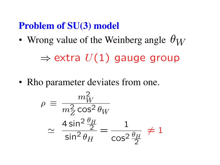 Problem of SU(3) model