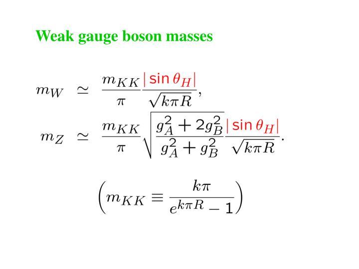 Weak gauge boson masses