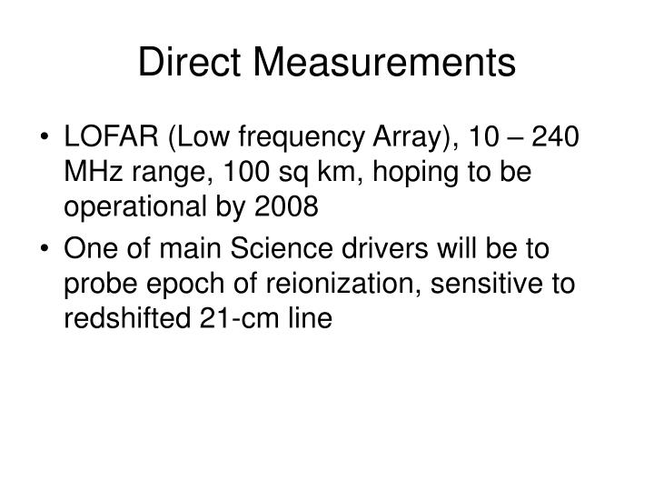 Direct Measurements