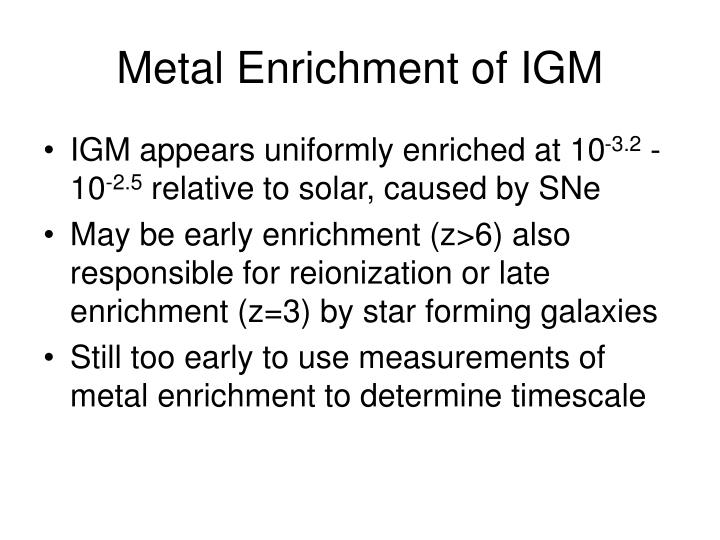 Metal Enrichment of IGM