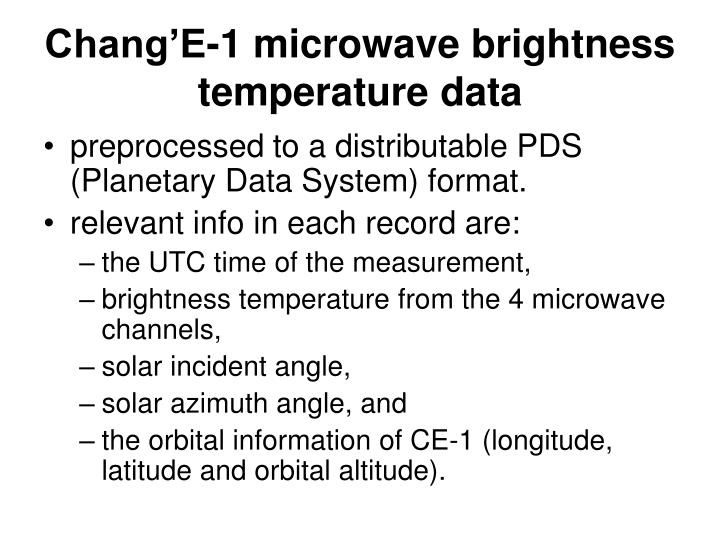 Chang'E-1 microwave brightness temperature data