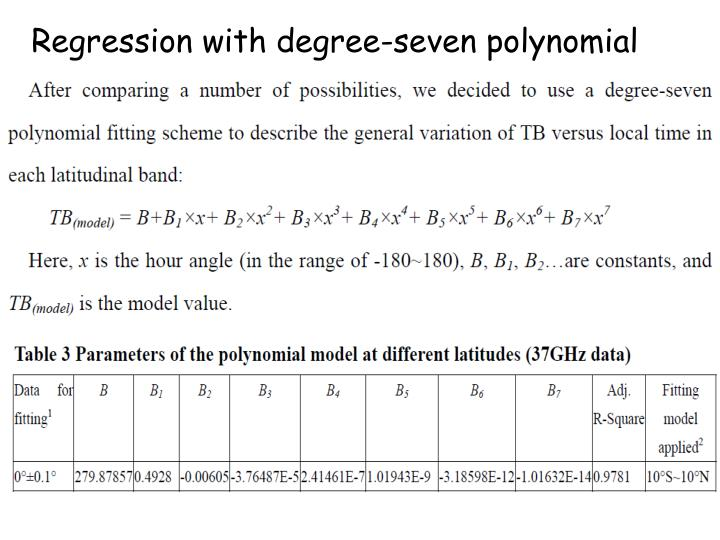 Regression with degree-seven polynomial