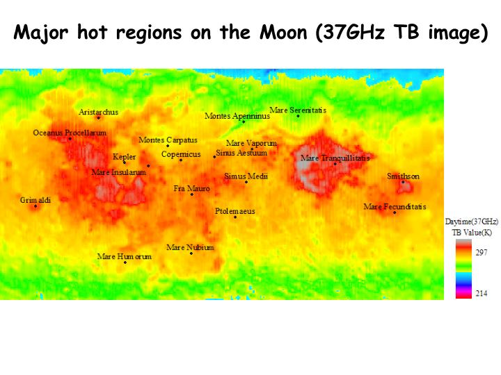 Major hot regions on the Moon (37GHz TB image)