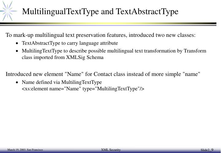 MultilingualTextType and TextAbstractType