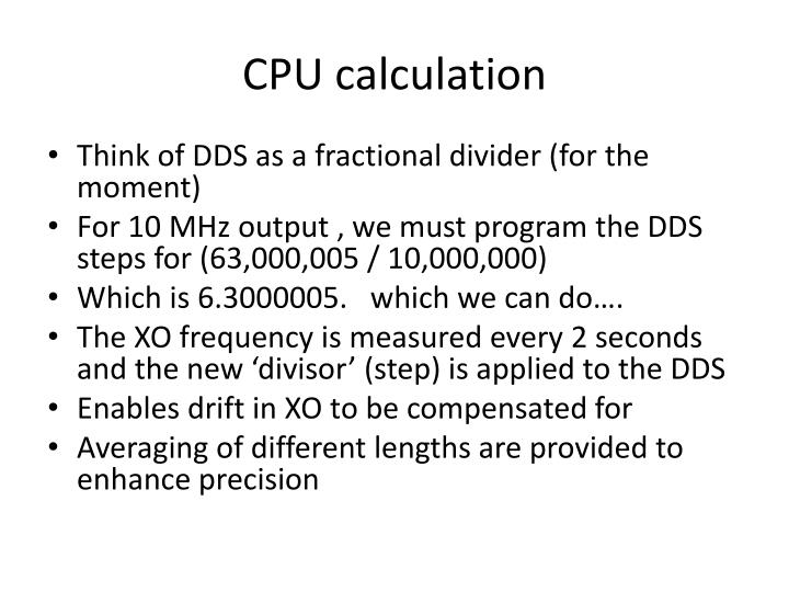CPU calculation