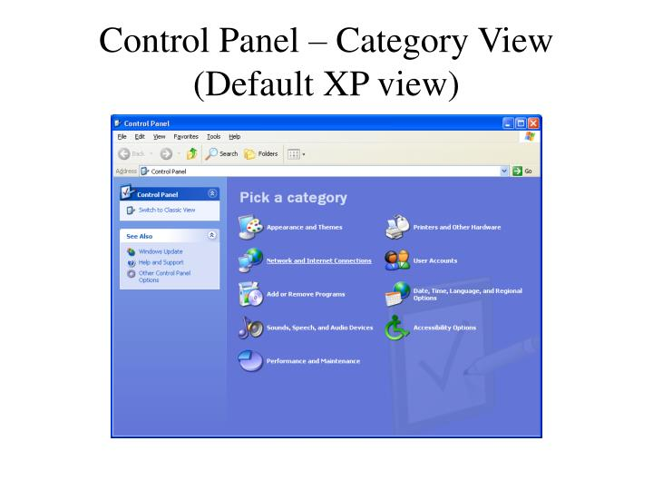 Control Panel – Category View (Default XP view)