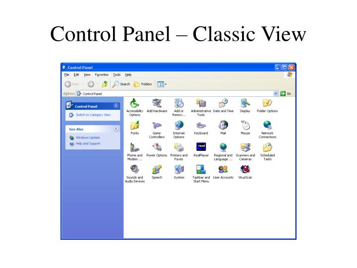 Control Panel – Classic View