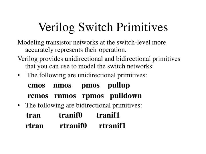 Verilog Switch Primitives