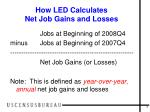 how led calculates net job gains and losses