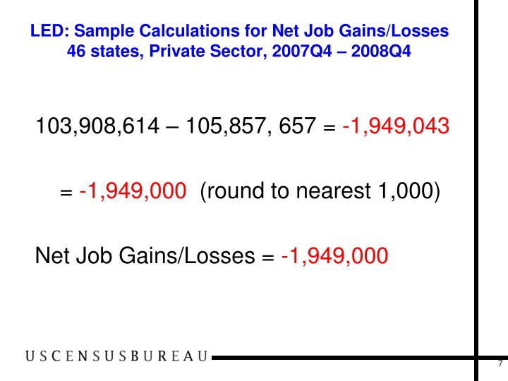 LED: Sample Calculations for Net Job Gains/Losses