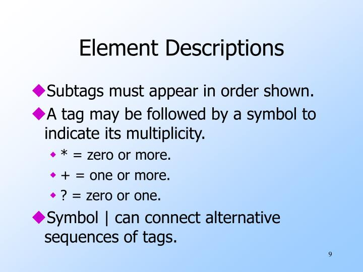 Element Descriptions