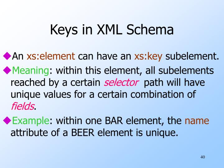 Keys in XML Schema