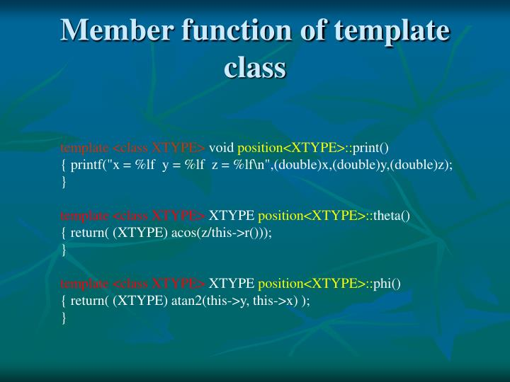 Member function of template class