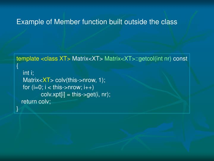 Example of Member function built outside the class