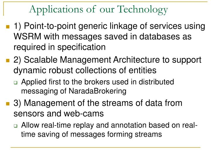 Applications of our Technology