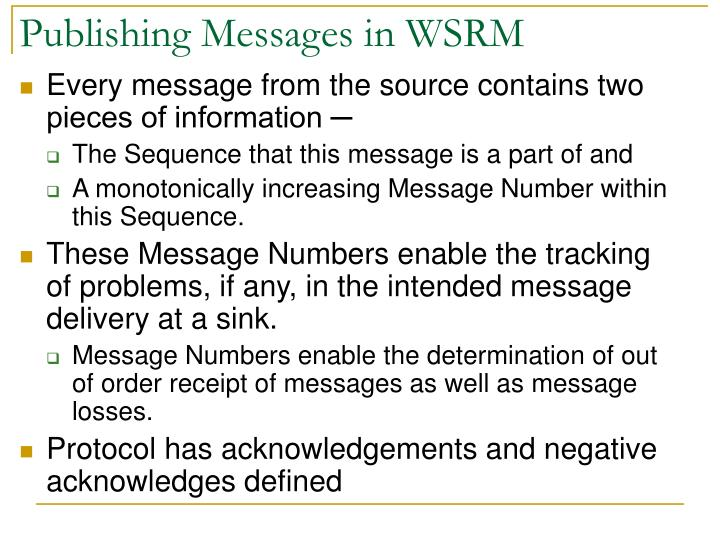 Publishing Messages in WSRM