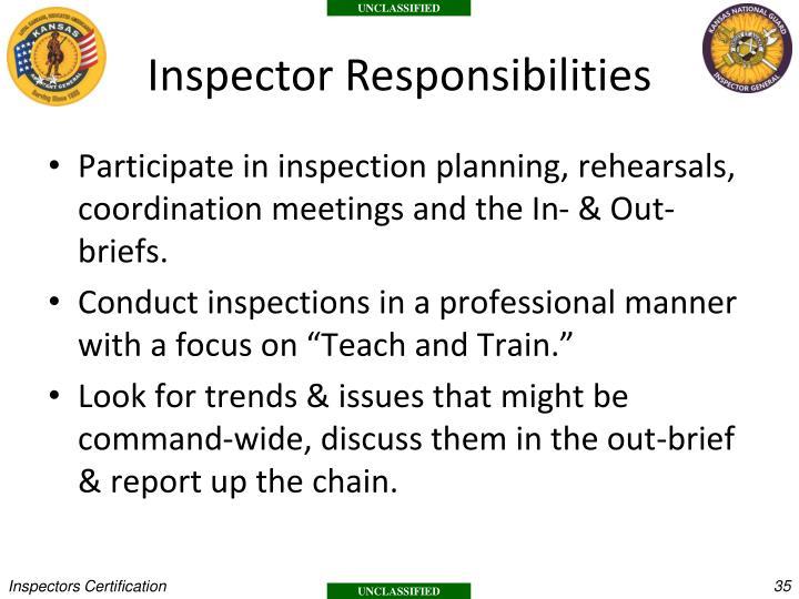 Inspector Responsibilities