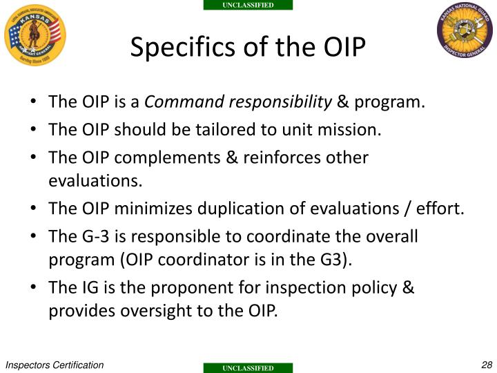 Specifics of the OIP