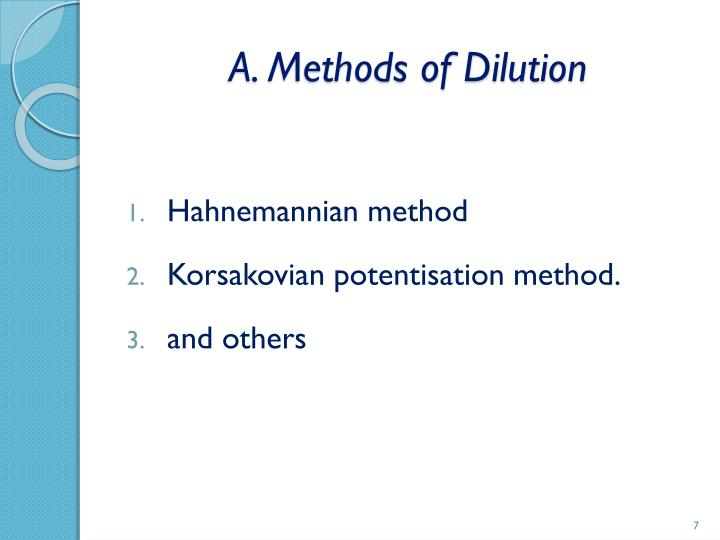 A. Methods of Dilution