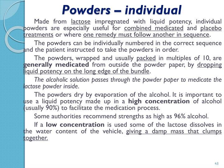 Powders – individual
