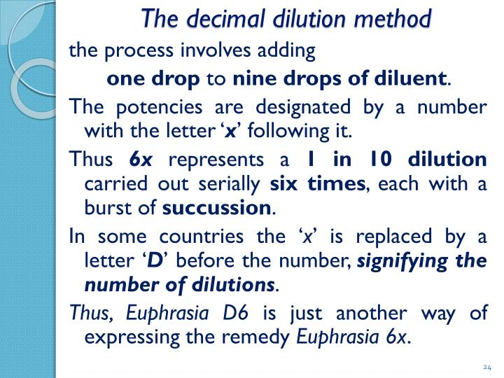 The decimal dilution method