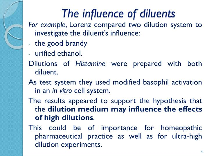 The influence of diluents