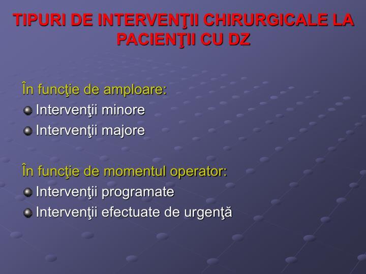 TIPURI DE INTERVENŢII CHIRURGICALE LA PACIENŢII CU DZ